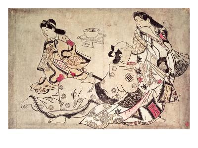Courtesan and Lover, Pub. Mid-1860's, (Oban Size, Hand-Coloured Album Print)