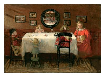The Dolls' Tea Party (Oil on Board)