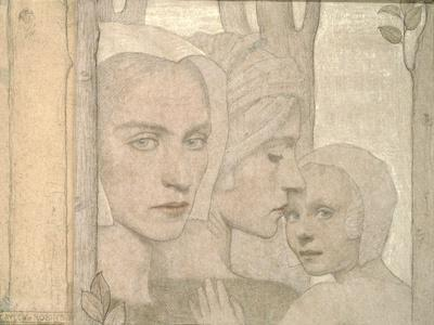 The Two Sisters, 1908 (Pencil and Chalk on Paper)