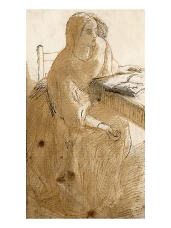 Lizzie Siddal (1832-62) (Pen and Ink and W/C on Paper)