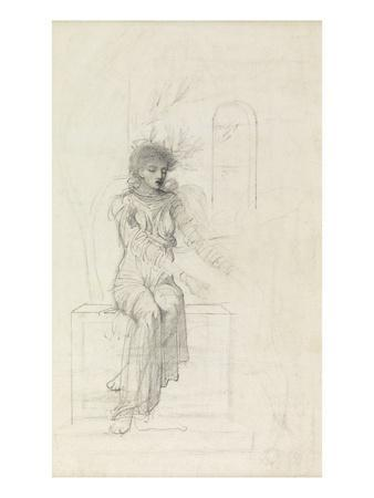 Study of a Seated Woman (Pencil on Paper)
