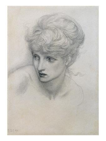 Study of a Girl's Head (Pencil on Paper) (See also 198345)