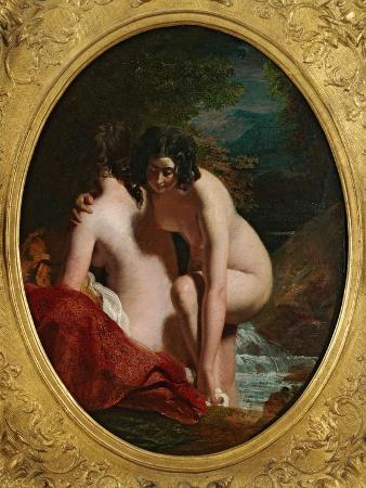 Two Girls Bathing (Oil on Panel)