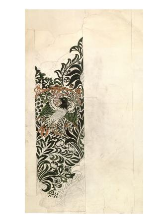 Unfinished 'Bird and Vine' Wood Block Design for Wallpaper, 1878 (Pencil and W/C on Paper)