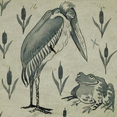 A Pelican and Frog in Conversation (W/C on Paper)