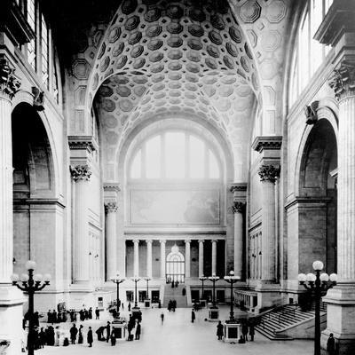 Pennsylvania Station, New York City, Main Waiting Room- Looking North, C.1910 (B/W Photo)