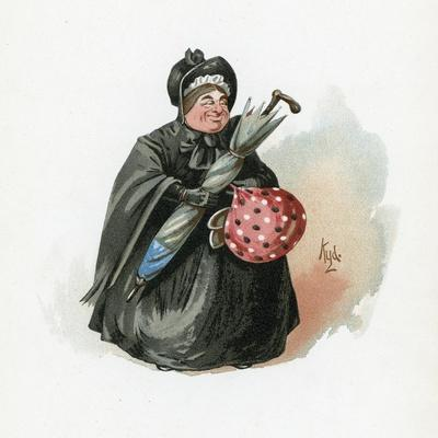 Mrs Gamp, Illustration from 'Character Sketches from Charles Dickens', C.1890 (Colour Litho)