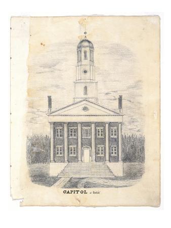 Capitol at Detroit in 1837, C.1837 (Graphite Pencil on Wove Pencil)
