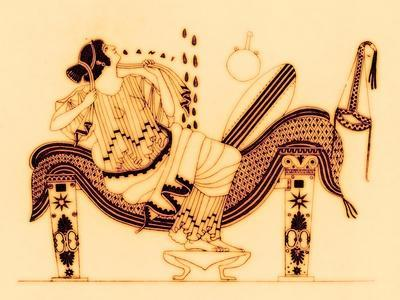 Danae and the Golden Shower, Illustration from 'Greek Vase Paintings'