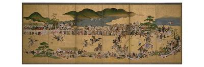 Six-Fold Screen Depicting a Dog Chasing Contest, Japanese, 1624-43 (Ink, Paint and Gold on Paper)