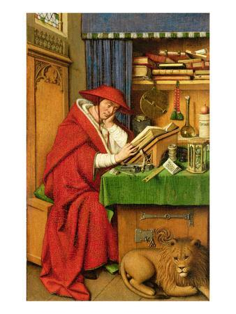 St. Jerome in His Study (Oil on Linen Paper on Panel)