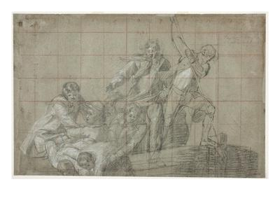 Rescue Group, 1777/78 (Black Chalk Heightened with White on Paper)