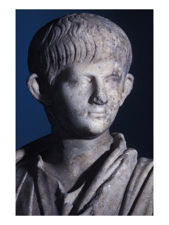 Togate Statue of the Young Nero, Front View of the Head, C.50 Ad (Marble) (Detail of 140378)