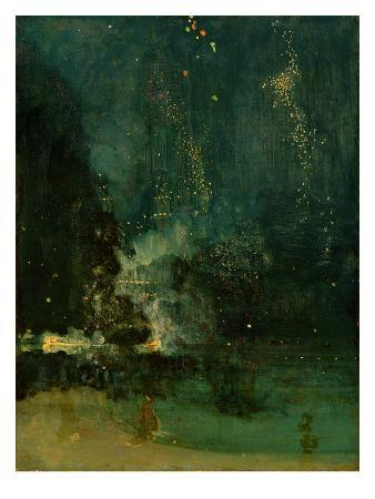 Nocturne in Black and Gold, the Falling Rocket, C.1875 (Oil on Panel)