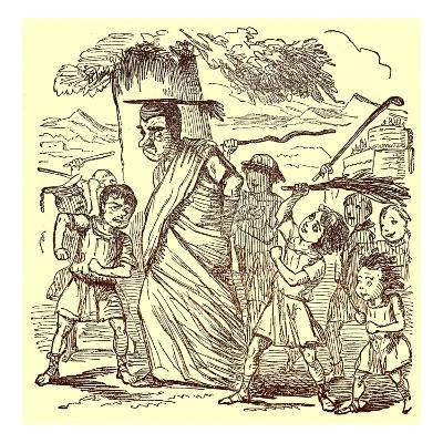 School-Boys Flogging the Schoolmaster, Illustration from 'The Comic History of Rome'
