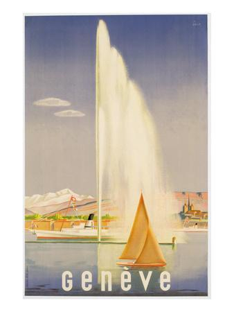 Advertisement for Travel to Geneva, C.1937 (Colour Litho)