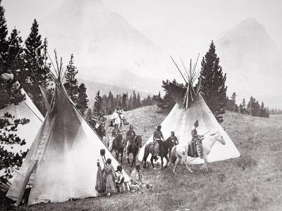 Native American Teepee Camp, Montana, C.1900 (B/W Photo)