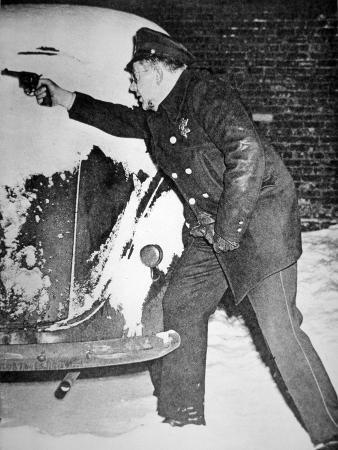 Chicago Policeman Arthur Olson, in a Shoot Out with Bank Robbers, 1st February 1947 (B/W Photo)