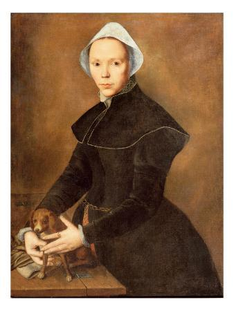 T28337 Portrait of a Lady with a Lapdog on a Table