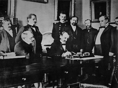 President William Mckinley (1843-1901) Witnesses the Signing of the The Peace Protocol