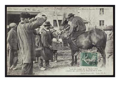 Postcard Depicting a Farmer in the Haute-Loire Selling Food at the Market, C.1900 (B/W Photo)