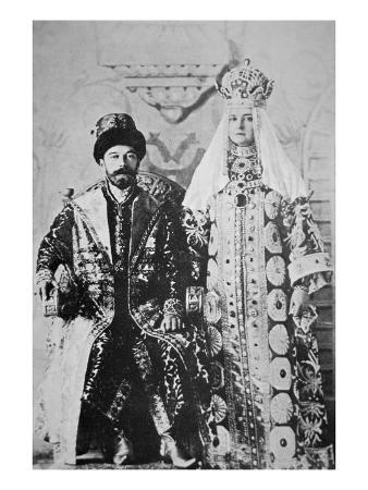 Tsar Nicholas Ii and Tsaritsa Alexandra in Full Coronation Regalia, May 1896 (B/W Photo)