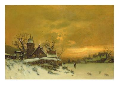 Winter Landscape with View of Buildings at Evening