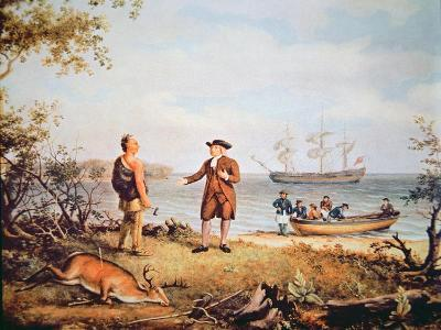 William Penn Arrives in America for the First Time and Meets a Native American in 1682