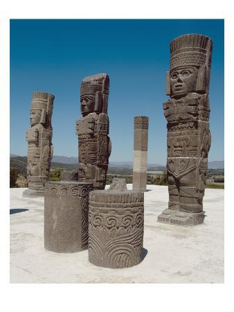 The Atlantean Columns on Top of Pyramid B, Pre-Columbian (Photo)