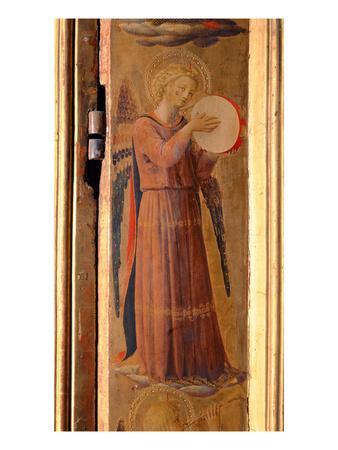 Angel Playing a Tambourine, Detail from the Linaiuoli Triptych, 1433 (Tempera on Panel)