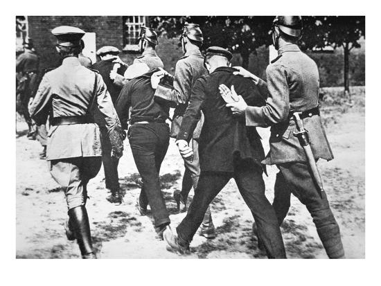 Police in Nazi Germany Arrest Communists on Hitler's Orders, 1933 (B/W  Photo)