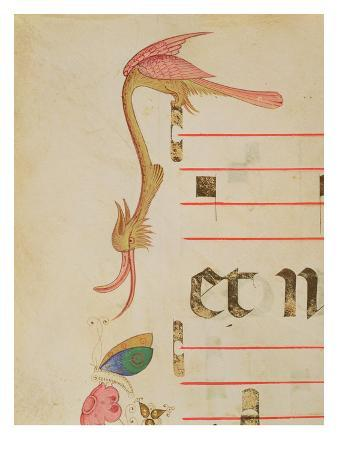 Missal 515 F.9R Fantastical Bird Hunting a Butterfly, Detail of Decorative Border