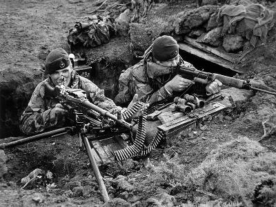 Royal Marine Comandos Man a Trench at San Carlos, 1982 (B/W Photo)