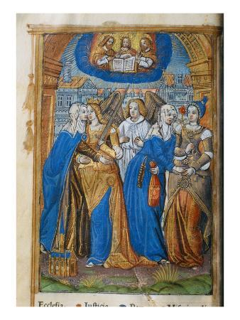 Livre D'Or, with Allegories of the Church, Justice, Peace and Mercy, C.1500 (Vellum)