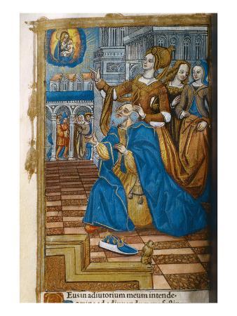 Livre D'Or, with a King Kneeling in Prayer. C.1500 (Vellum)