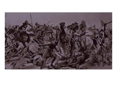 Dervish Warriors at Omdurman, Charge of the 21st Lancers (Litho)
