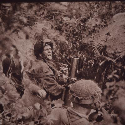 British Paratroopers Bombard German Positions with Mortars, Battle of Arnhem, 1944 (B/W Photo)
