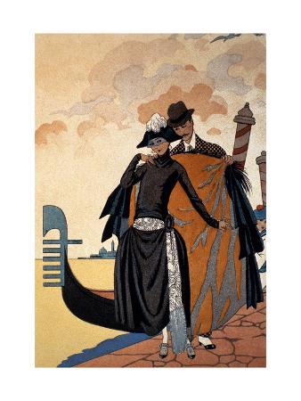 Her and Him, Fashion Illustration, 1921 (Pochoir Print)