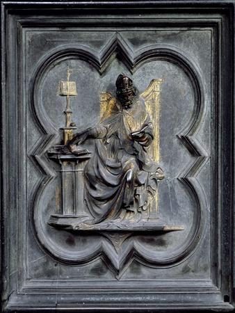 St Ambrose, Panel E of the North Doors of the Baptistery of San Giovanni, 1403-24 (Bronze)