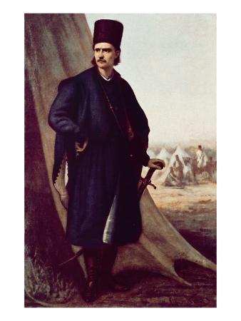 Portrait of Tudor (Theodor) Vladimirescu (Colour Litho)