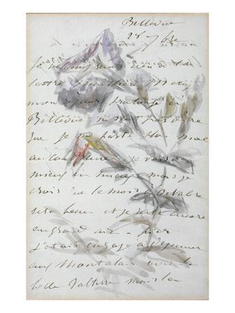 1st Page of a Letter from the Painter Manet to His Friend and Model, Mery Laurent, 1880