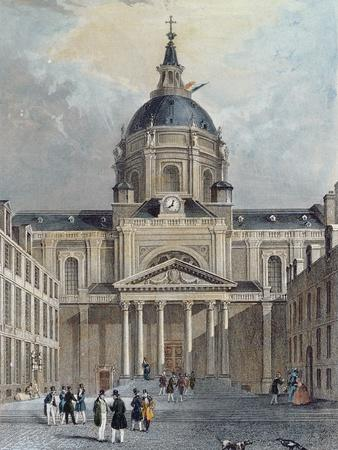 The Courtyard of the Sorbonne, Mid 19th Century (Colour Engraving)