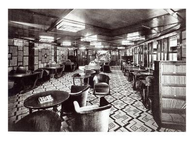 Reading Room on the Ocean Liner 'Ile De France', 1926 (B/W Photo)