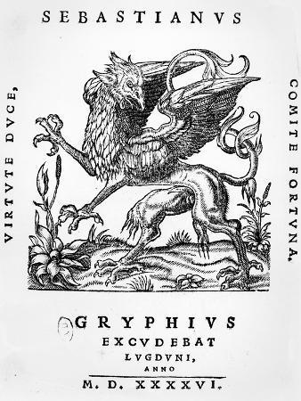 Griffin Printer's Emblem of Sebastianus Gryphius, Lyon, 1546 (Woodcut)