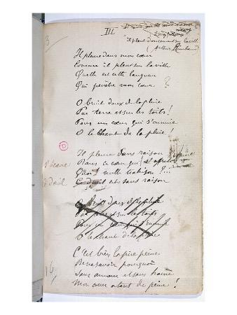 Manucript of 'Ariettes Oublies, Iii' from 'Romances Sans Parole', 1874 (Pen and Ink on Paper)