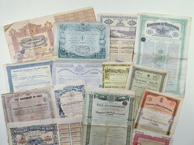 Collection of Bond Certificates, Early 20th Century (Colour Litho)