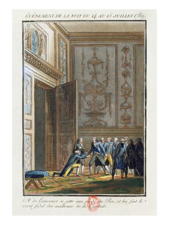 Monsieur De Liancourt (1747-1827) Telling Louis XVI (1754-93) at Versailles