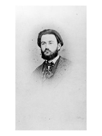 Emile Zola (1840-1902) Aged 25, C.1865 (B/W Photo)