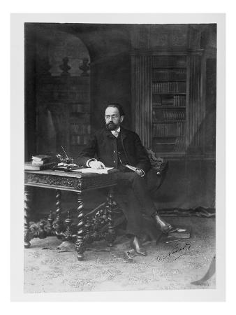 Emile Zola (1840-1902) in His Study (B/W Photo)