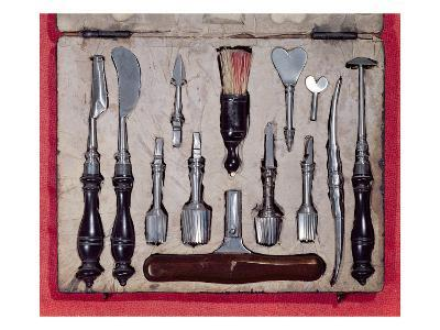 Medical Case Containing Instruments for Trepanning (Wood and Metal)
